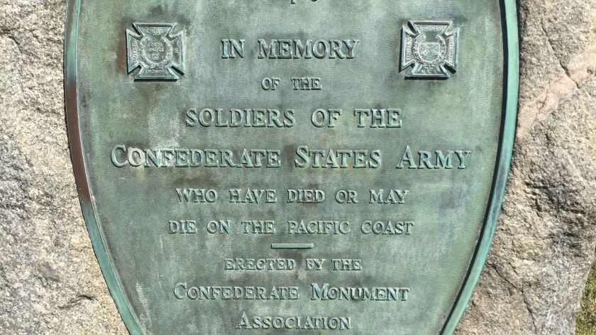 A monument at Hollywood Forever Cemetery that commemorated Confederate veterans.