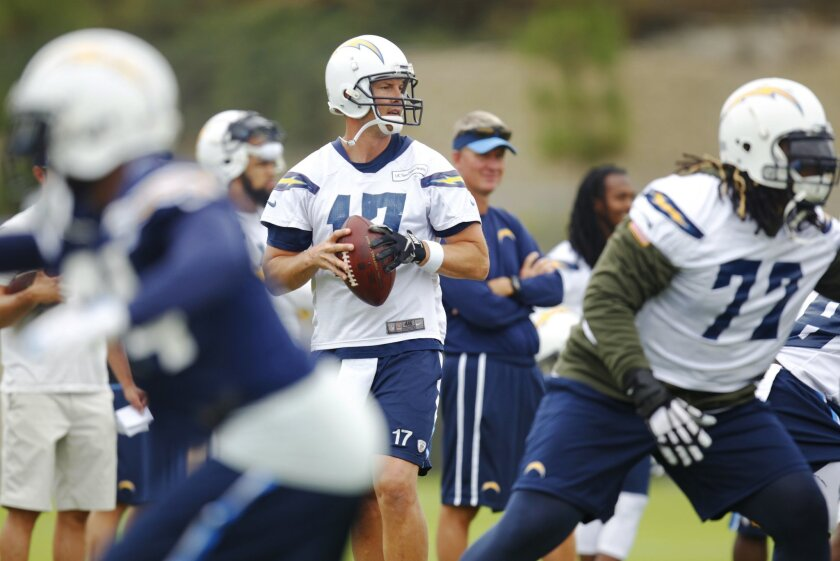 San Diego Chargers Philip Rivers drops back during mini camp.