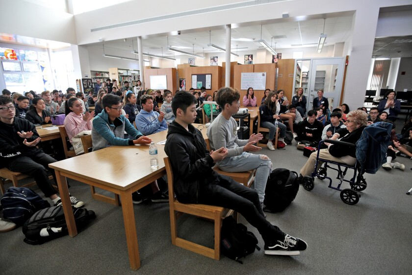 Edith Franke at Crescenta Valley High School library