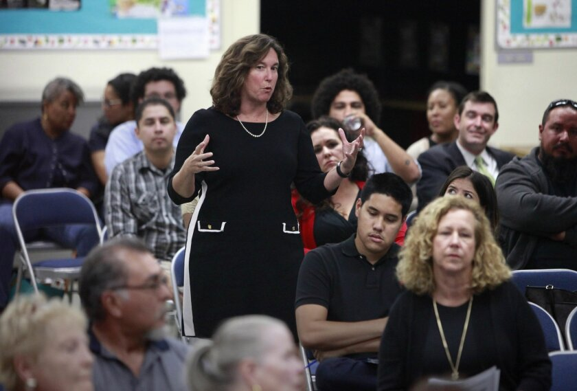 San Diego Unified School District Superintendent Cindy Marten speaks at a community meeting to discuss whether or not Robert E. Lee Elementary School should be renamed Friday.