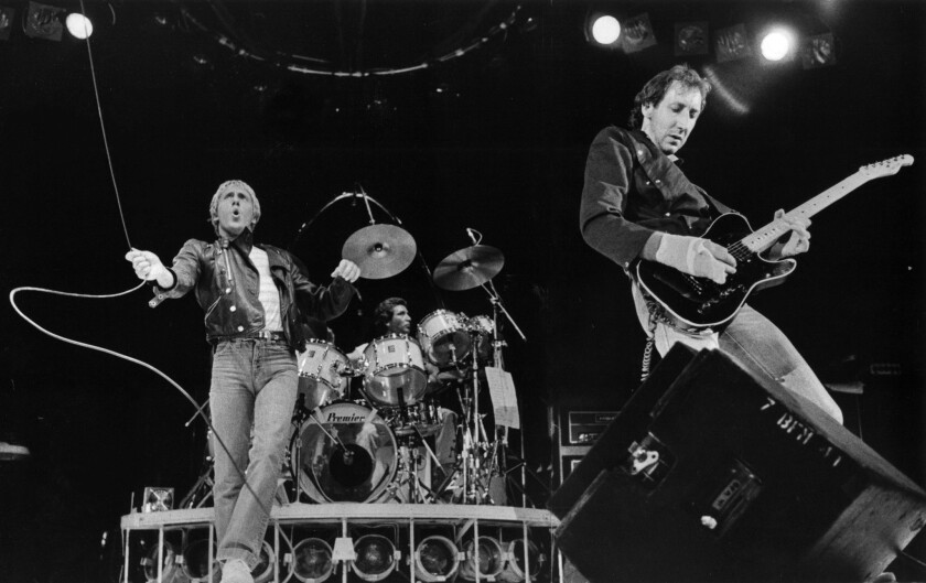 June 24, 1980: (l to r) Roger Daltrey, drummer Kenney Jones, and Peter Townshend of THE WHO in conce