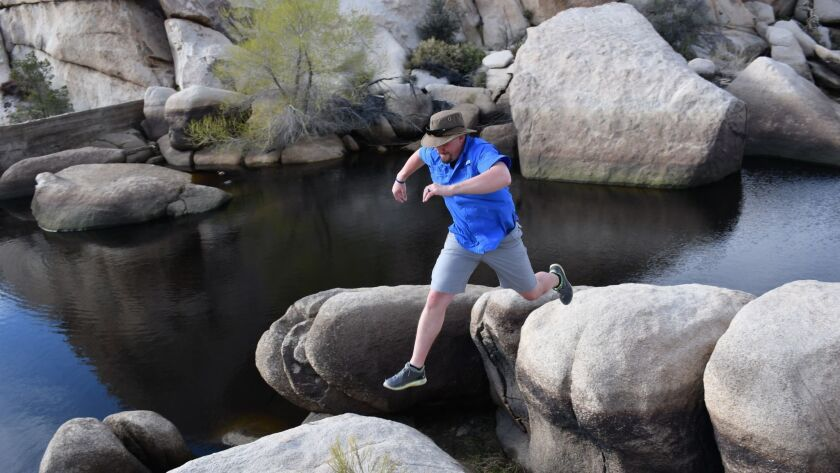Hikers, lizards and ducks share Barker Dam, near the Hidden Valley Campground in Joshua Tree Nationa