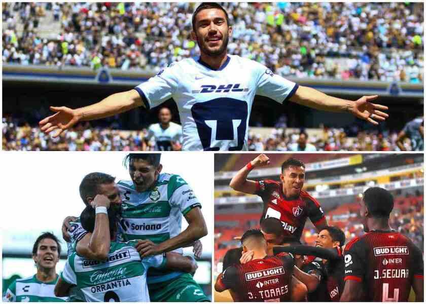Pumas, Santos y Atlas toman ventaja en la Liga MX.