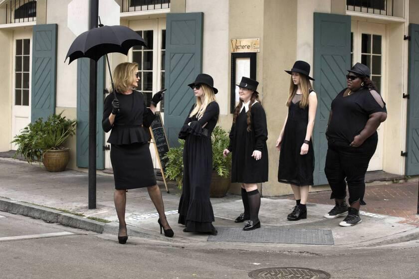 "Jessica Lange, left, Emma Roberts, Jamie Brewer, Taissa Farmiga and Gabourey Sidibe star in ""American Horror Story: Coven."""