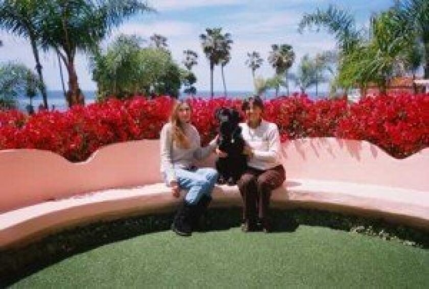 Nike's in training to become a service dog. He spent his birthday lunching with Marianna Allgauer and puppy-raiser Vicki Cesario at La Valencia Hotel in La Jolla. Courtesy