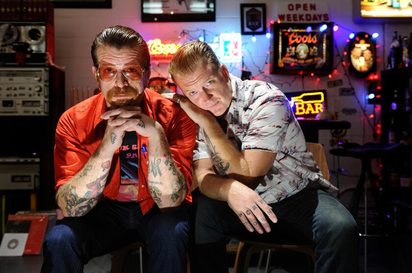 Jesse Hughes, left, and Joshua Homme of the group Eagles of Death Metal.