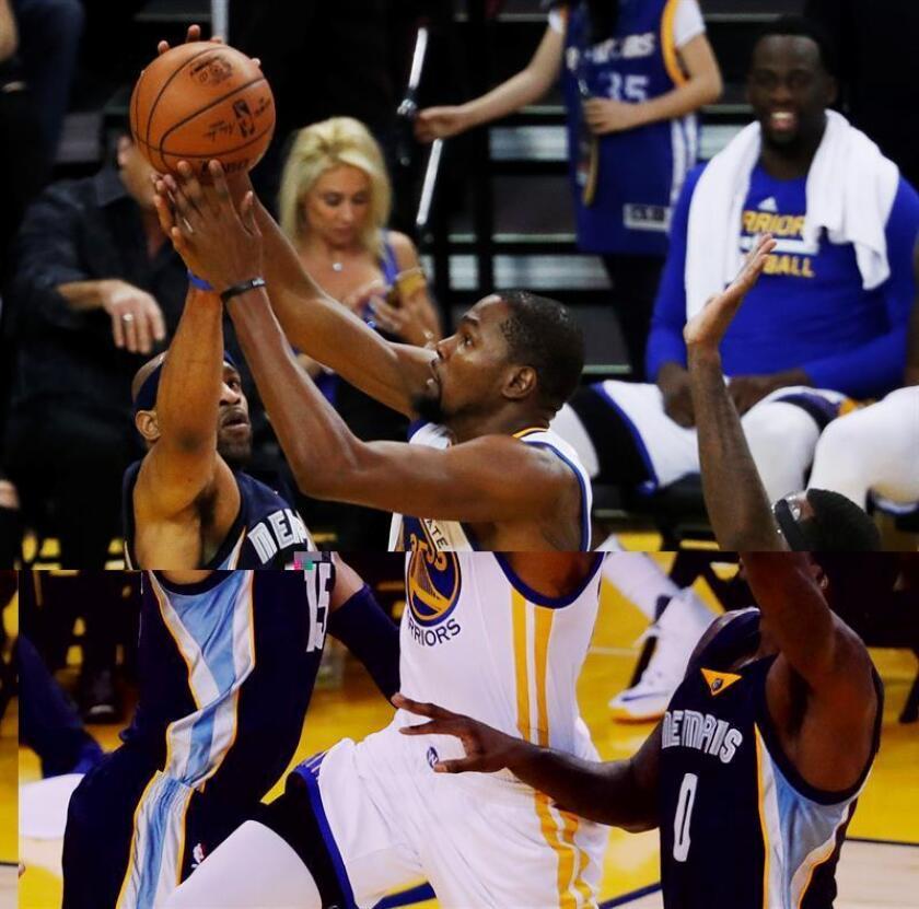 Kevin Durant (c) de los Warriors, durante el partido de la NBA del pasado viernes contra los Grizzlies de Memphis. EFE