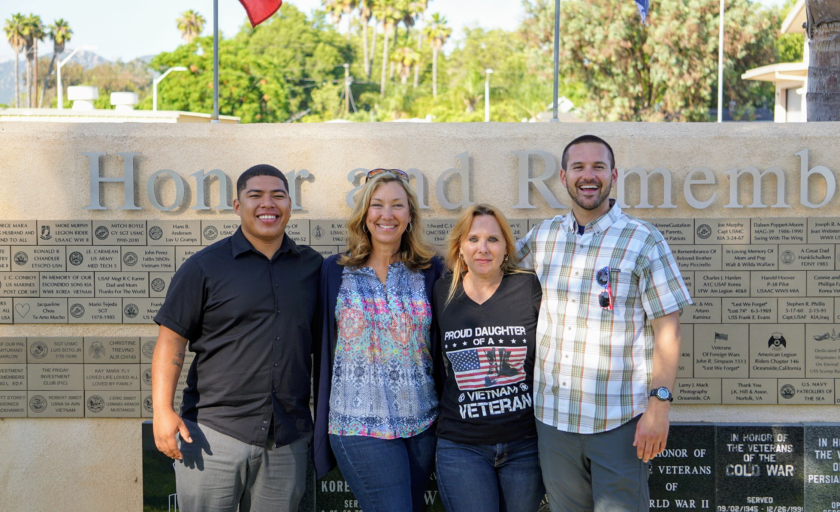 "U.S. Air Force veteran Steven Sutherland, left, with veterans advocate Sara Correll, facilitator Marilyn Huerta and Marine vet William Felty will participate Sept. 23 in ""The Power of a Story,"" a veterans support and resource program at Cal State San Marcos."
