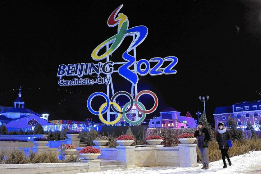 Beijing's logo for its bid to get the 2022 Winter Olympics is displayed in Zhangjiakou.