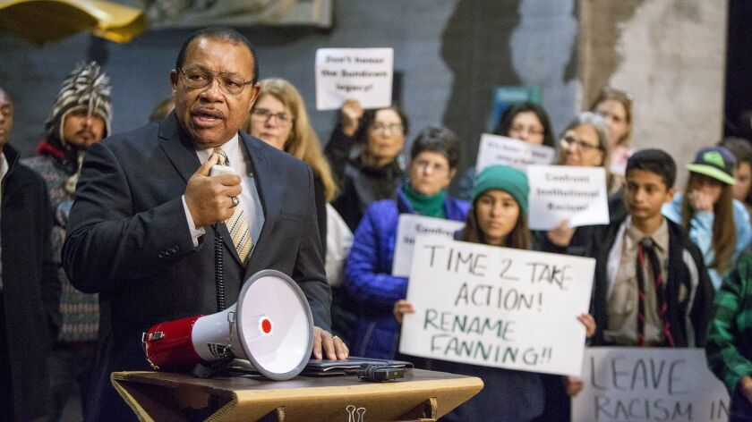 Fred Calhoun, education chairman of the Orange County NAACP, speaks during a rally Jan. 14 in support of changing the name of William E. Fanning Elementary in Brea.