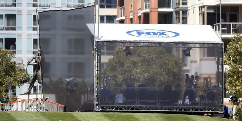 Fox Sports San Diego set up a broadcast area in the Park at the Park at Petco Park in 2016.