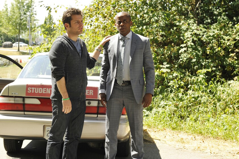 """James Roday left and Dulé Hill in the season finale of """"Psych"""" on USA."""