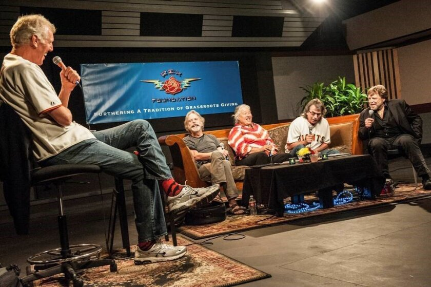 "From left: Bill Walton, Bob Weir of the Grateful Dead, Carolyn ""Mountain Girl"" Adams Garcia, Mickey Hart of the Grateful Dead and periodic Grateful Dead lyricist John Perry Barlow at the Rex Foundation event at TRI Studios in San Rafael, California, 2013. Courtesy photo"