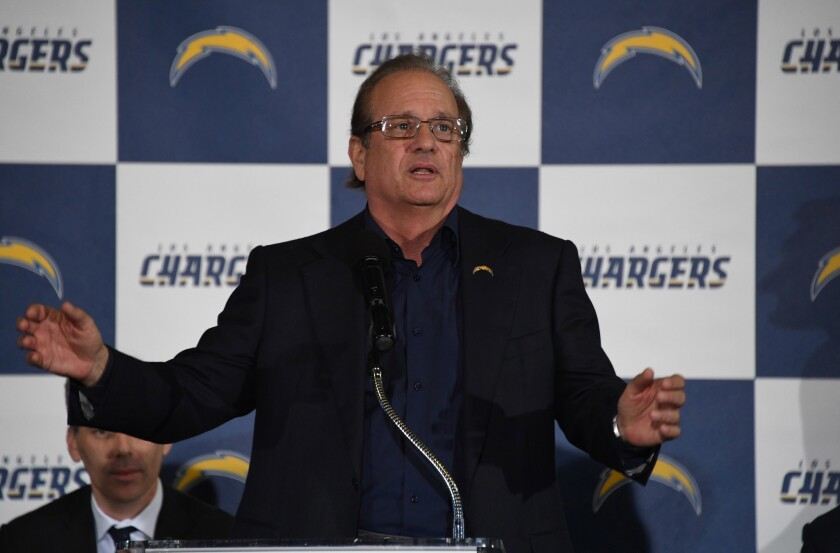 Los Angeles Chargers owner Dean Spanos speaks during the Los Angeles Chargers Kickoff Ceremony at the The Forum.
