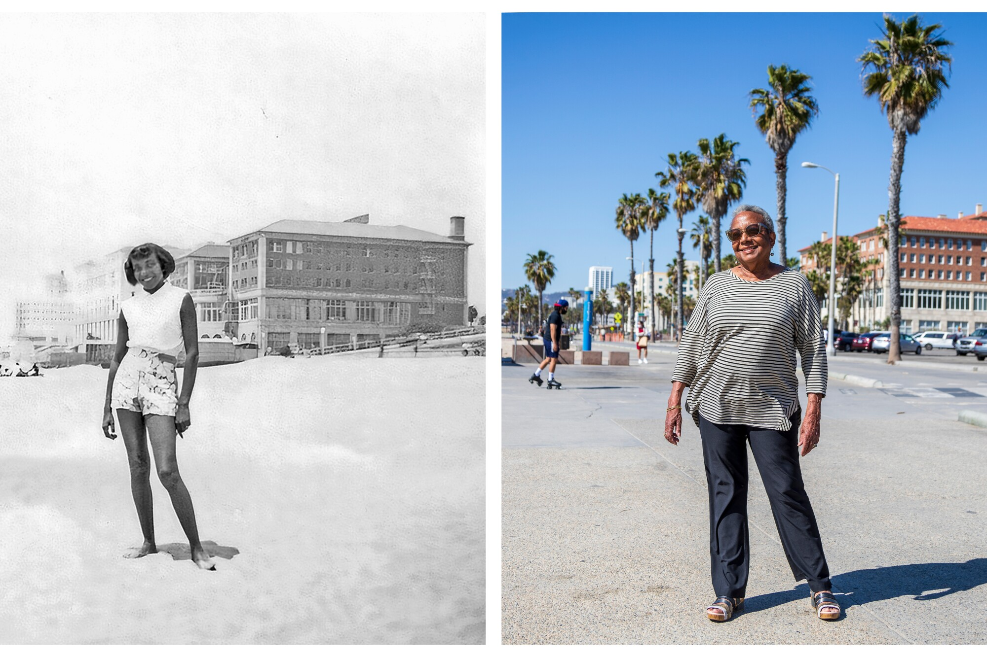 Cristyne Lawson at the beach in 1953 as a young girl, at left, and today.