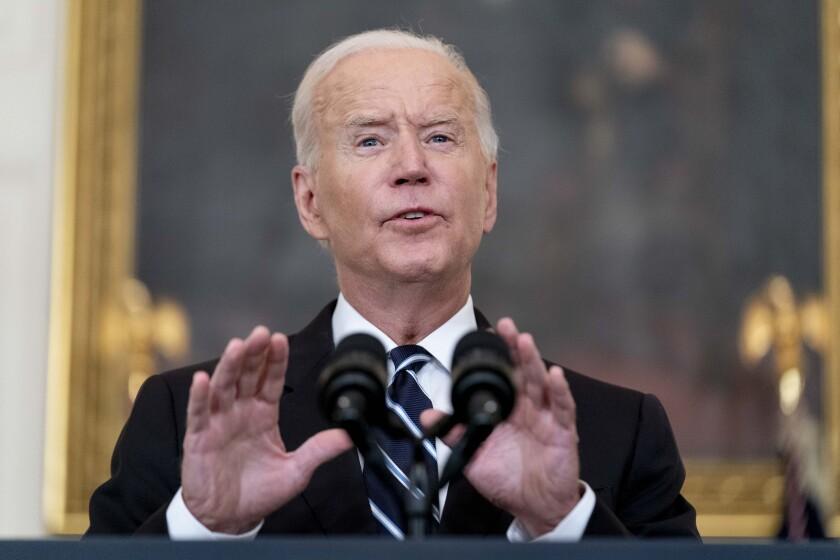 El presidente estadounidense Joe Biden habla en la Casa Blanca el 9 de septiembre del 2021.