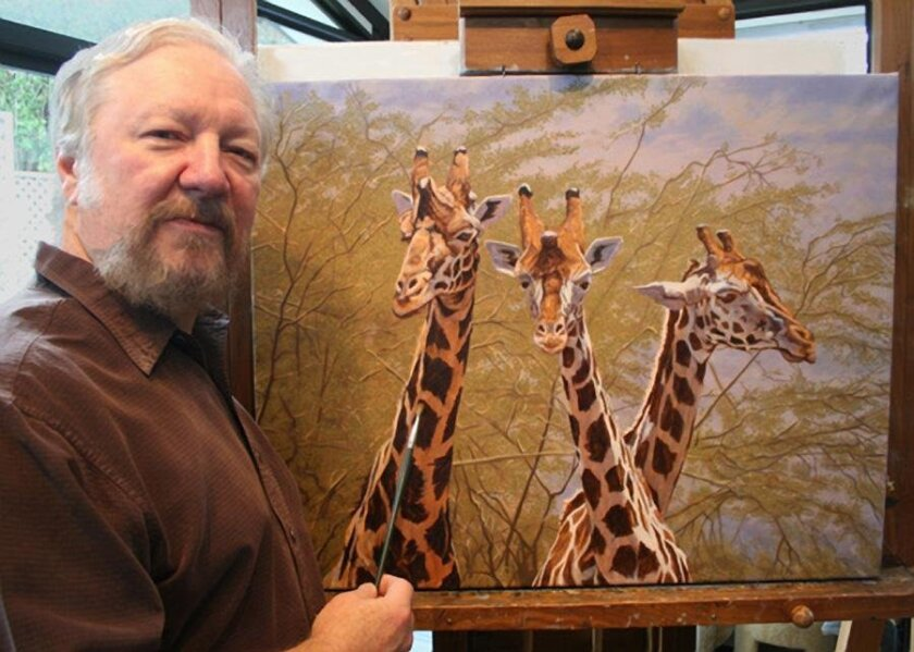 Gary Johnson, an Encinitas artist, works on Three Amigos a painting inspired by a trip he and his wife took to east Africa.