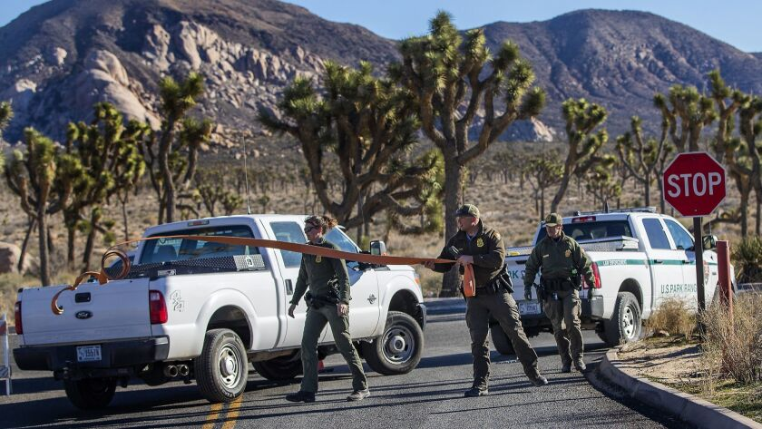 JOSHUA TREE, CA - JANUARY 2, 2019: Park rangers close off the access road to a campground at Joshua