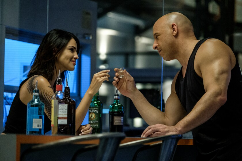 """Eiza Gonzalez and Vin Diesel in """"Bloodshot."""""""