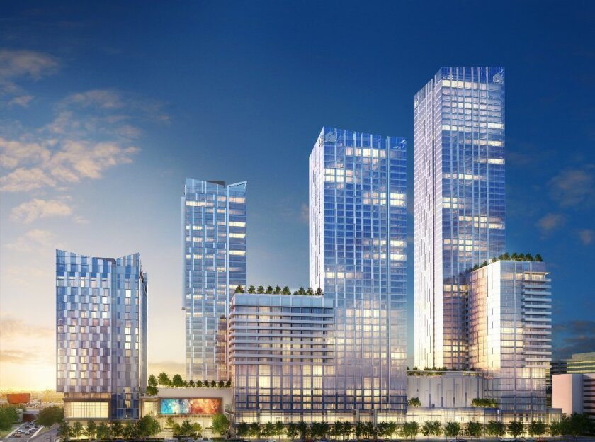 An artist's rendering of the Metropolis residential, hotel and retail complex in downtown Los Angeles.