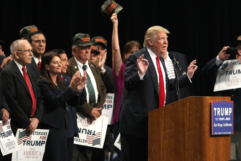 Donald Trump spoke in front of a group of veterans at the San Diego Convention Center Friday May 27, 2016 to his supporters on a two-city swing through California a week before the California Primary.