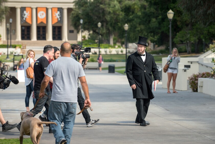 Actor Alec Baldwin surprised a class at Occidental College in an Abraham Lincoln costume.
