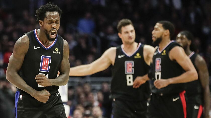 LOS ANGELES, CA, MONDAY, FEBRUARY 25, 2019 - Clippers guard Patrick Beverley lets out a yell after l