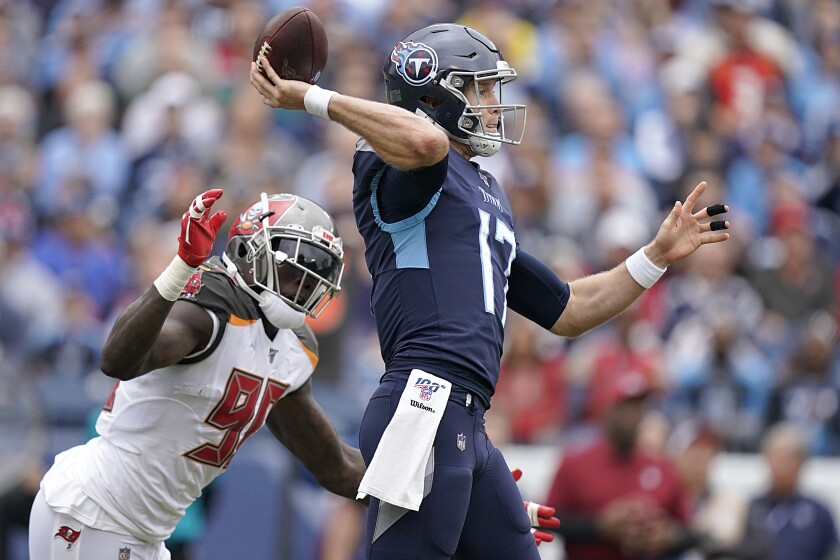 Tennessee Titans quarterback Ryan Tannehill throws a pass against the Tampa Bay Buccaneers on Sunday.