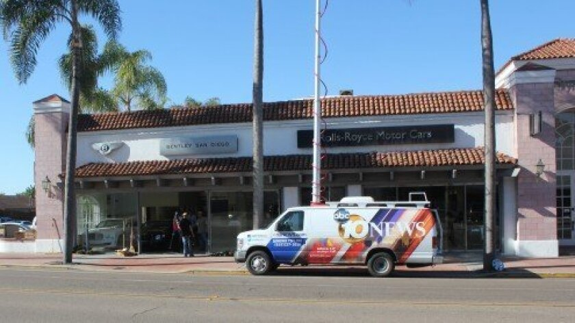 Burglars broke into this Bentley auto dealership on La Jolla Boulevard early Monday morning.