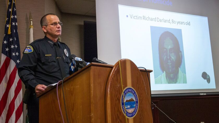 Huntington Beach Police Chief Robert Handy speaks during a press conference on Tuesday, October 31 a