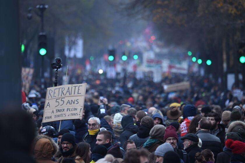 Protest against the pension overhauls  in Paris