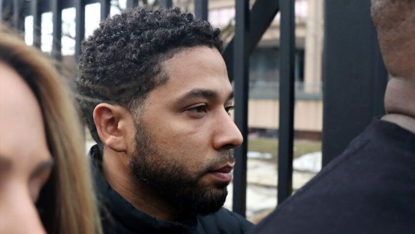 Actor Jussie Smollett leaves Cook County Jail after posting bond on Feb. 21, 2019. He was initially charged by prosecutors on one felony count of filing a false report.