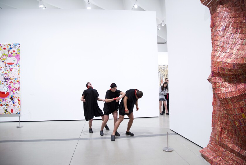 Dancers choreographed by Ryan Heffington took over the third floor galleries at the Broad.