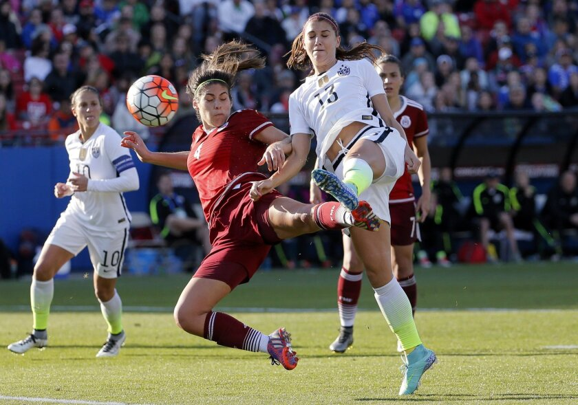 Mexico defender Alina Garciamendez (4) defends against a shot at the net by United States forward Alex Morgan (13) in the second half of a CONCACAF Olympic qualifying tournament soccer match, Saturday, Feb. 13, 2016, in Frisco, Texas. The U.S. won 1-0. (AP Photo/Tony Gutierrez)