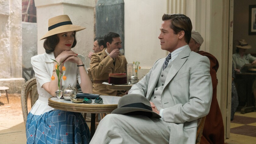 """Marion Cotillard and Brad Pitt in the movie """"Allied."""""""