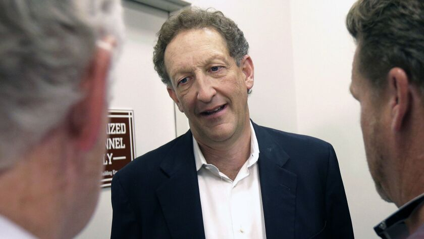 In this Monday, Oct. 5, 2015 file photo, San Francisco Giants president and CEO Larry Baer speaks to reporters after a news conference in San Francisco.