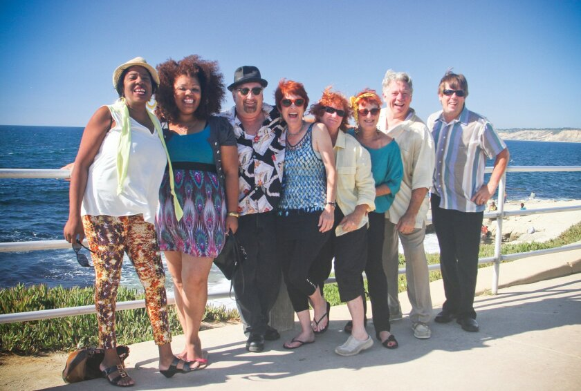 Sue Palmer & Her Motel Swing-mates relax above La Jolla Cove following their performance last year at Ellen Browning Scripps Park.