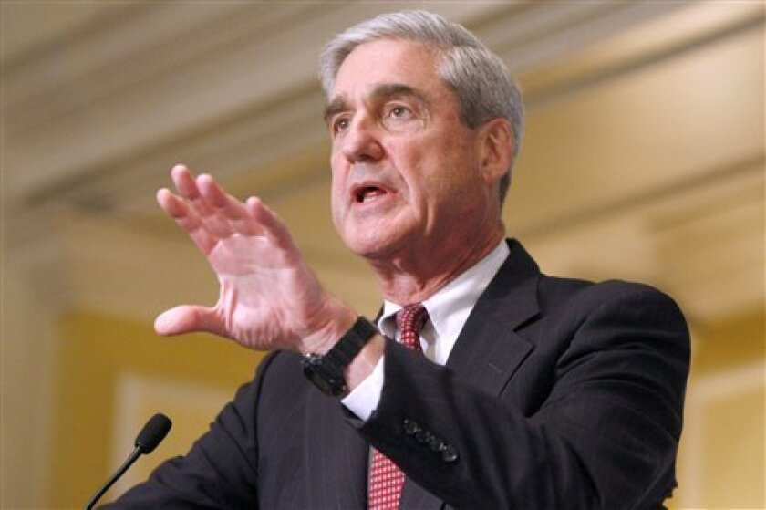 FBI Director Robert Mueller speaks at a conference on domestic terrorism in Washington, Wednesday, Oct. 6, 2010. (AP Photo/Jacquelyn Martin)