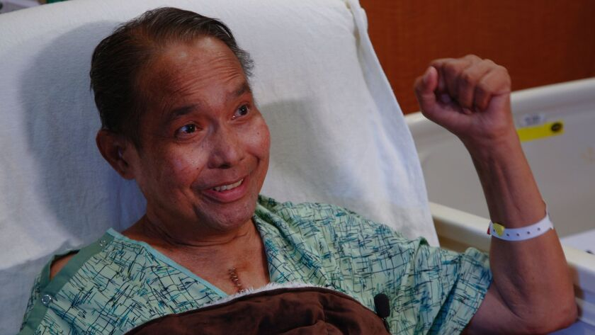 Becoming emotional on what he describes as a second chance on life, Sonny Taitano was the recipient of a double transplant, heart and liver at UC San Diego Sulpizio Cardiovascular Center.