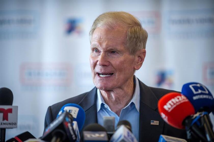 The United States senator for the state of Florida, Bill Nelson, gives a press conference on July 14, 2018, in Miami. EPA-EFE/Giorgio Viera.
