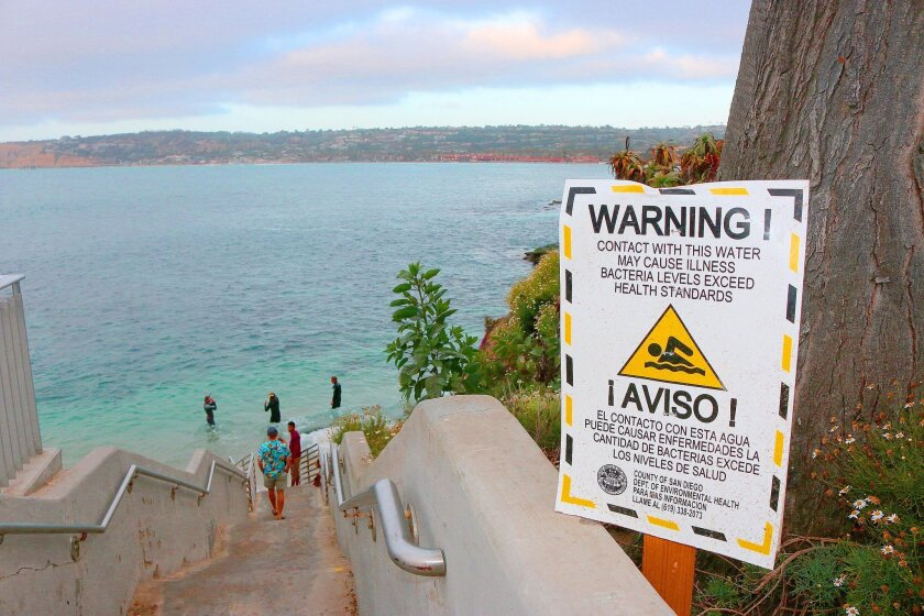 San Diego County health officials have posted signs at La Jolla Cove warning swimmers of unsafe bacteria levels in the water.