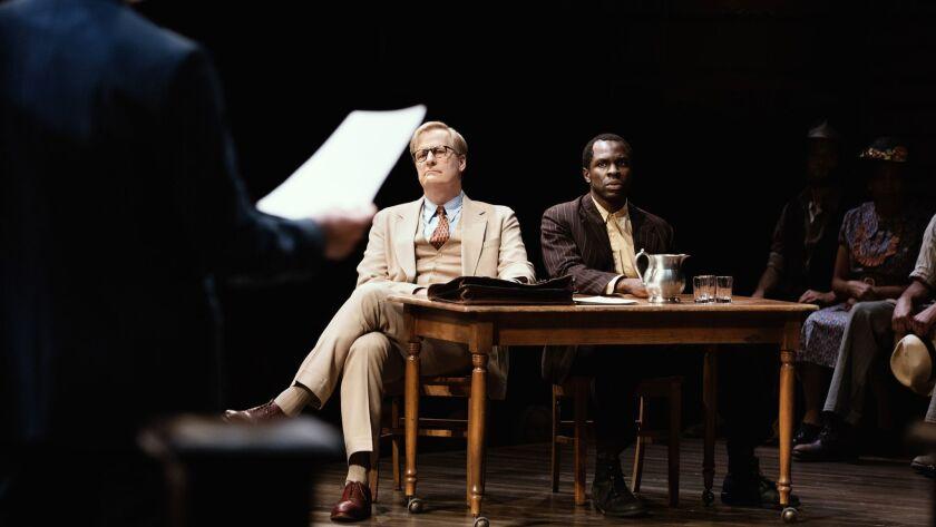 "Jeff Daniels and Gbenga Akinnagbe in the Broadway production of ""To Kill a Mockingbird."""