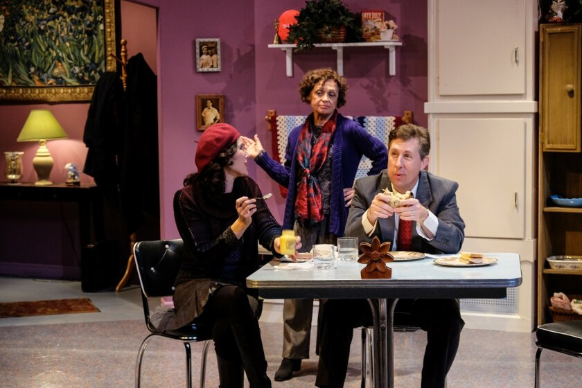 "Brenda Adelman, Carm Greco and Charles Peters (left to right) in ""Sunset Park."""