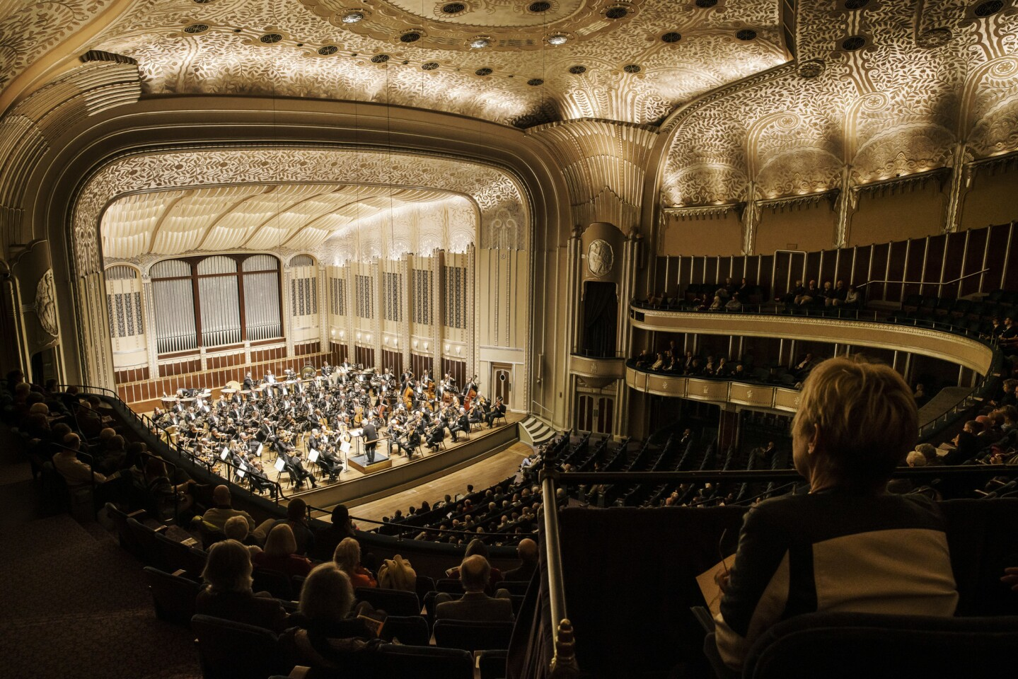 Severance Hall is the home of the world-class Cleveland Orchestra, conducted here by Ingo Metzmacher in an October concert.
