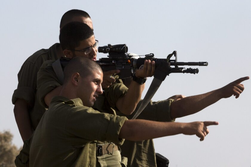 Israeli paratoroops on Gaza Strip border near Sderot during exercise