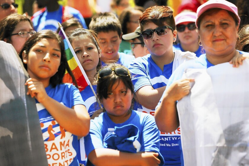 Activists with the United We Dream organization hold an immigration rally in front of the White House in July.
