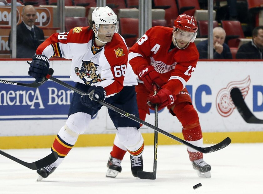 Florida Panthers right wing Jaromir Jagr (68) and Detroit Red Wings center Pavel Datsyuk (13) battle for the puck in the third period of an NHL hockey game, Monday, Feb. 8, 2016 in Detroit. Detroit won 3-0. (AP Photo/Paul Sancya)
