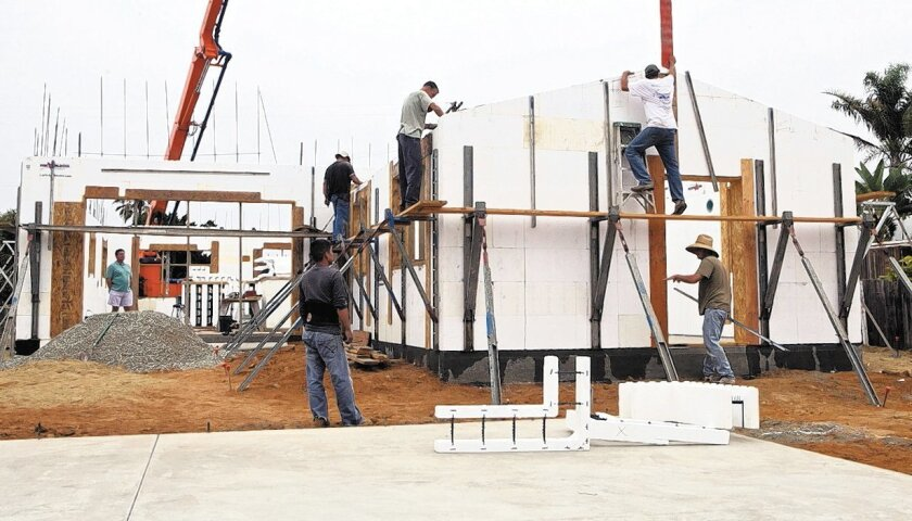 An Encinitas home is being built using ICFs, or insulating concrete forms, which are made of polystyrene foam.