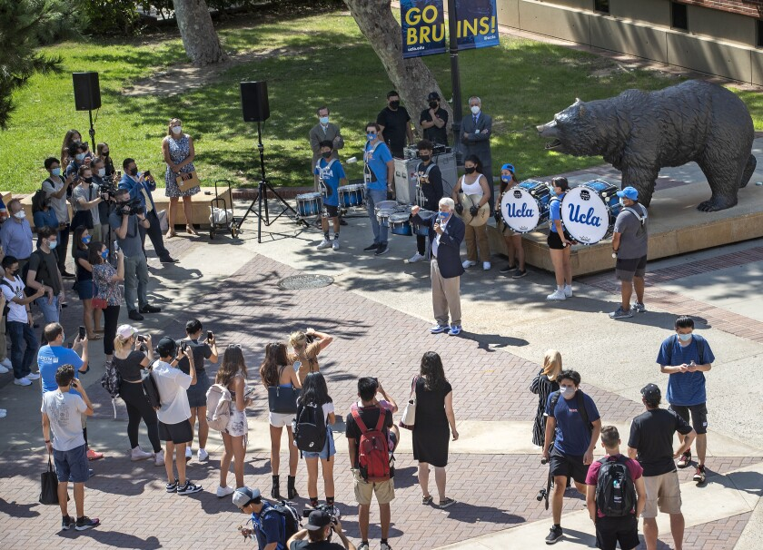 Students gather at a UCLA plaza.