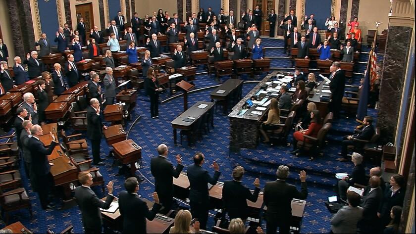 Senate members sworn in for impeachment trial